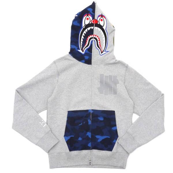 Pre-owned Bape  X Undefeated Mr Cartoon Color Camo Hood/pocket Full Zip Clown Shark Hoodie Grey/blue