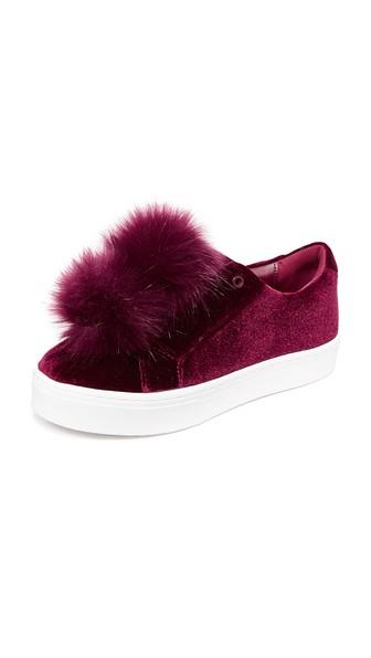 59ad84e7921e Sam Edelman Leya Velvet Pom Pom Sneakers In Burgundy Velvet