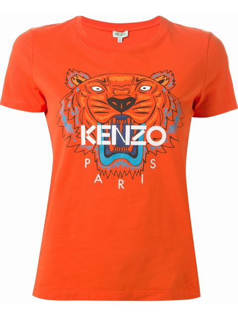Kenzo Tiger-Motif Crewneck Short-Sleeve Cotton T-Shirt In Red