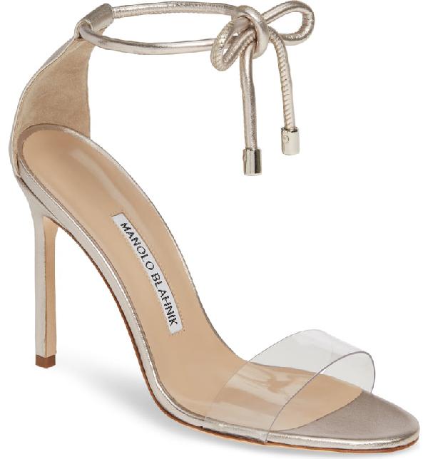 5af6d10b60c Manolo Blahnik Estro Leather   Pvc Ankle-Wrap Sandals In Nickel Leather