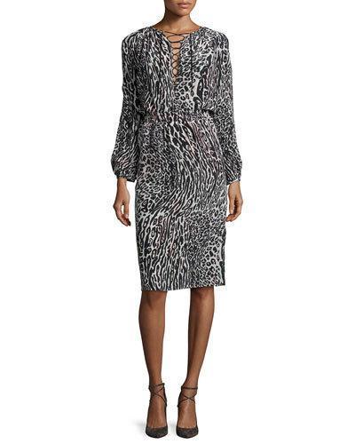 Altuzarra Long-Sleeve Leopard-Print Silk Dress In Grey Leopard