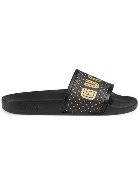 Gucci Leather Trimmed Canvas Slides Sega Black (W)