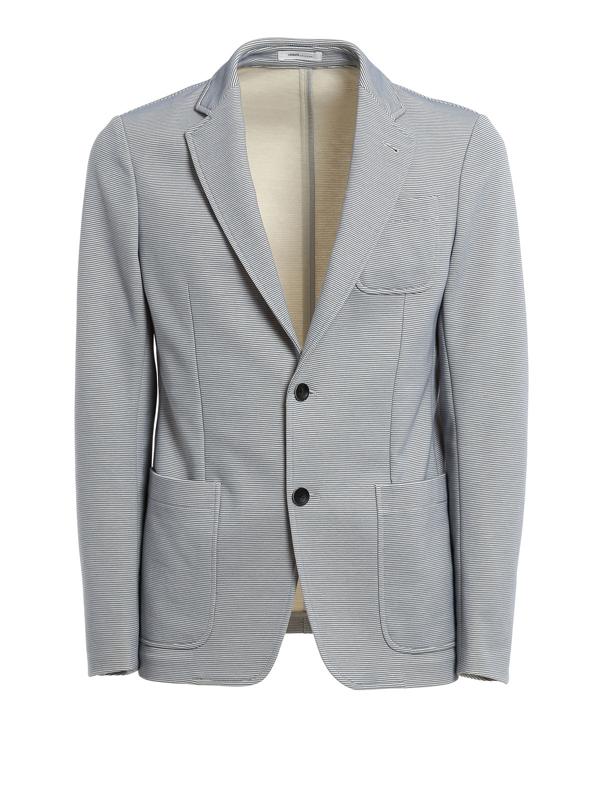 Armani Collezioni Striped Cotton Blazer In Multi