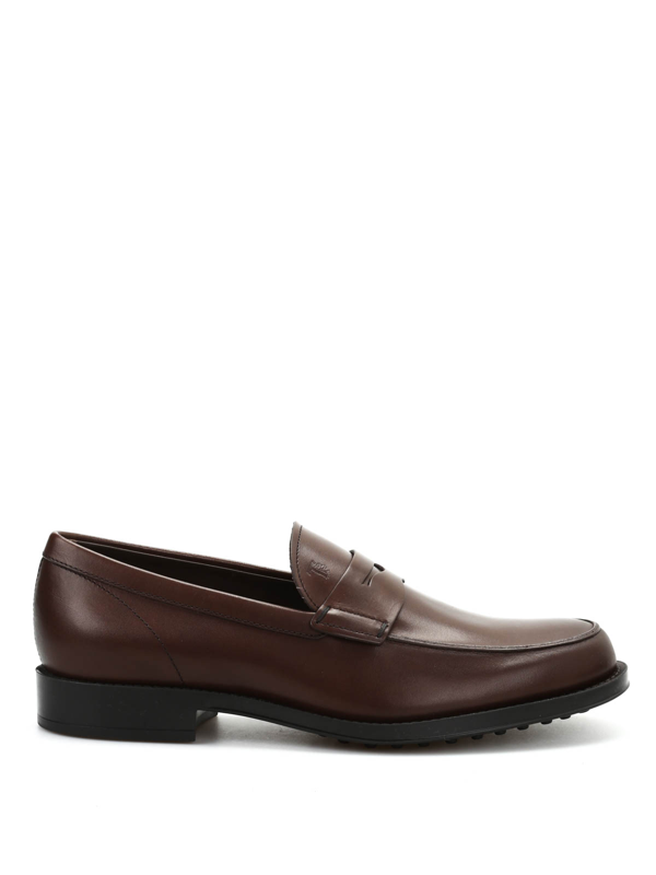 Tod's Gomma Classico Brushed Leather Loafers In Dark Brown