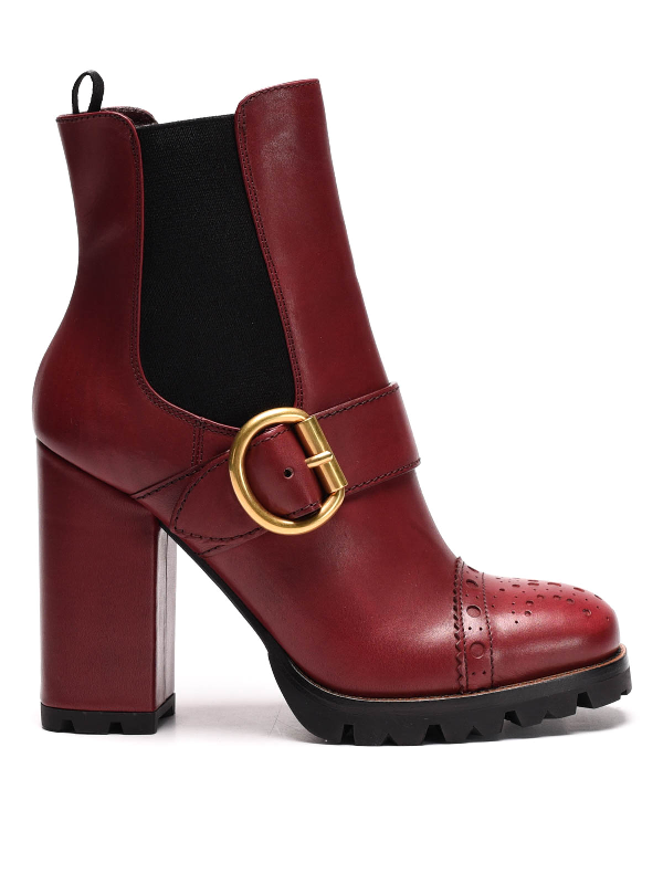 autumn shoes super specials various styles Buckle Detail Leather Booties in Dark Red