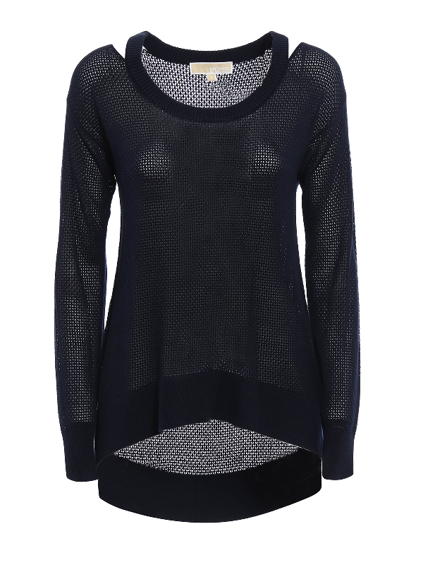 Michael Kors Cut Out Detail Sweater In Blue