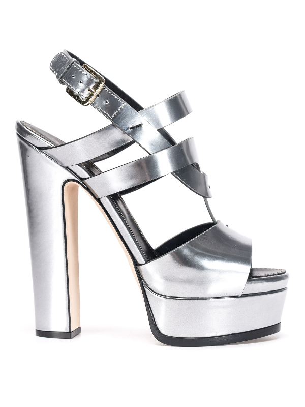 Sergio Rossi Leather Sandals With Platform In Silver