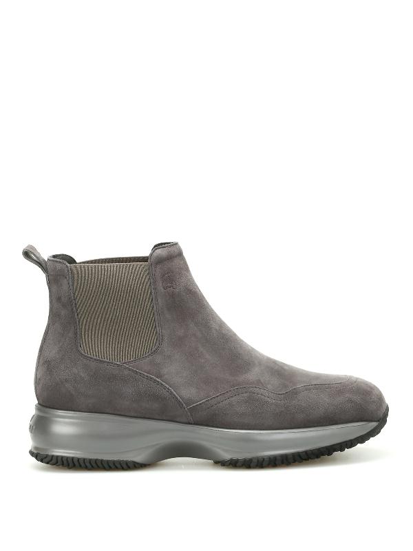 Hogan Interactive Chelsea Suede Boots In Dark Grey