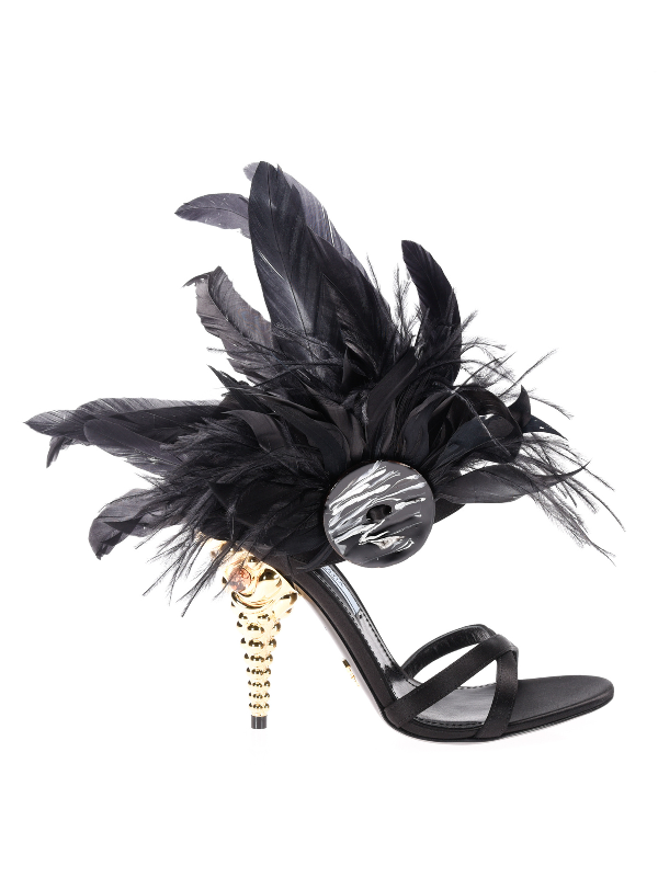 Prada Satin Sandals With Feather Details In Black