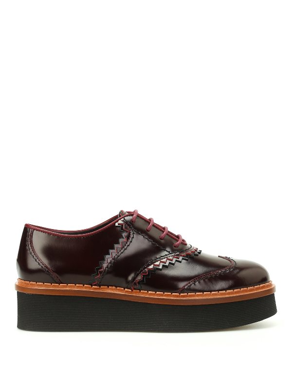 Tod's Leather Wedge Oxford Shoes In Dark Red