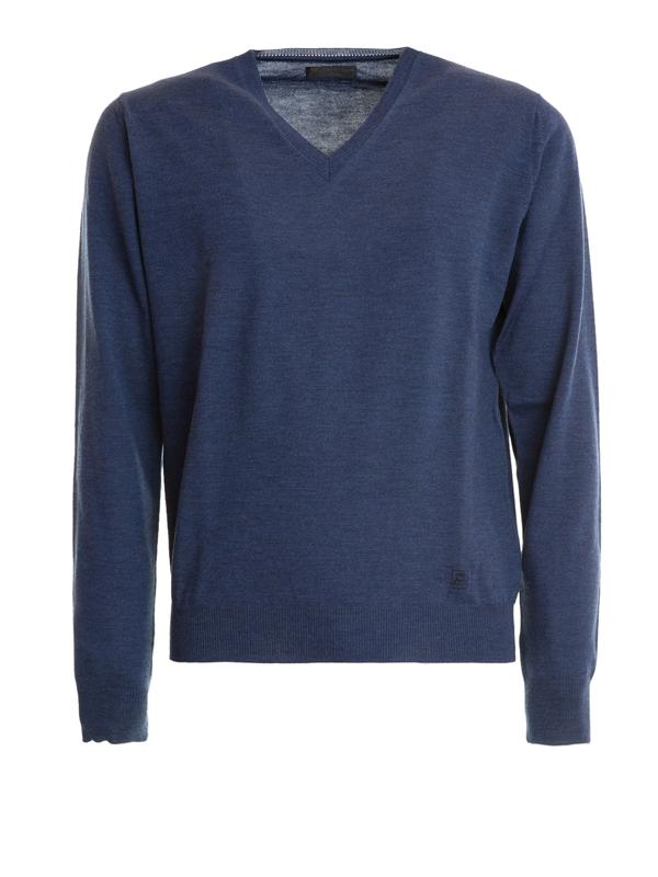Corneliani V-neck Lightweight Wool Pullover In Blue