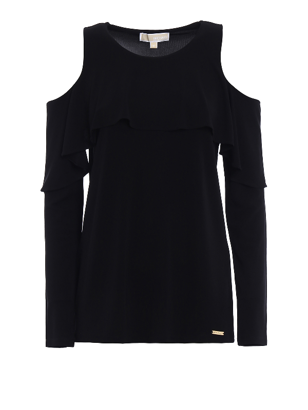 Michael Kors Cut-Out Flounced Jersey Blouse In Black