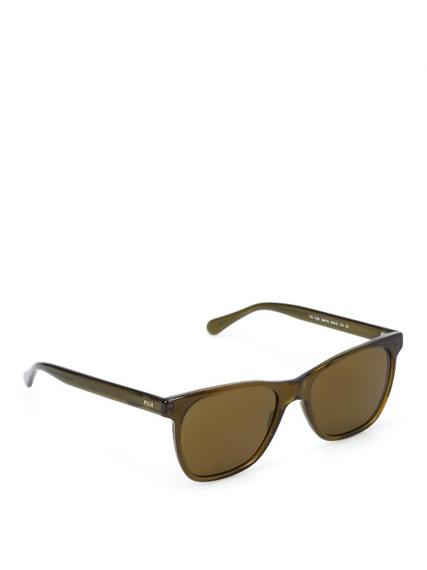 Polo Ralph Lauren Transparent Acetate Sunglasses In Dark Green