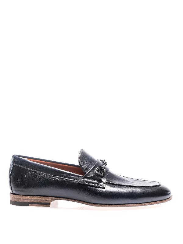 Santoni Horsebit Blue Leather Loafers In Dark Blue