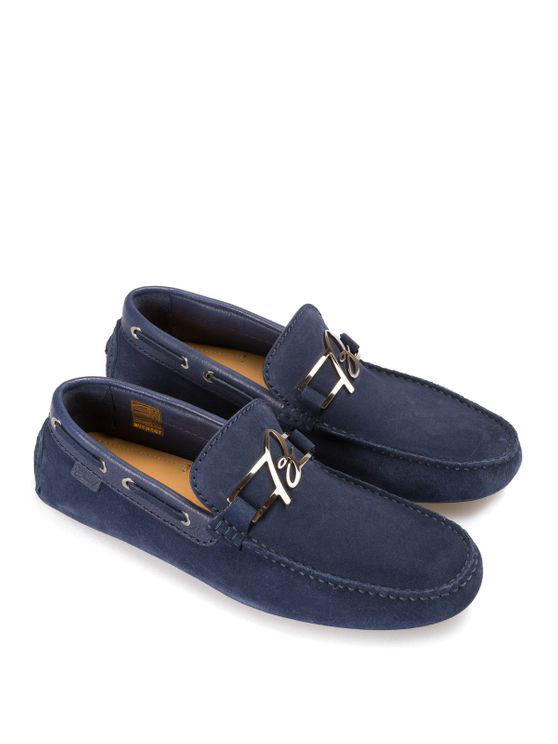 Brioni Suede Loafers With Metal B In Blue