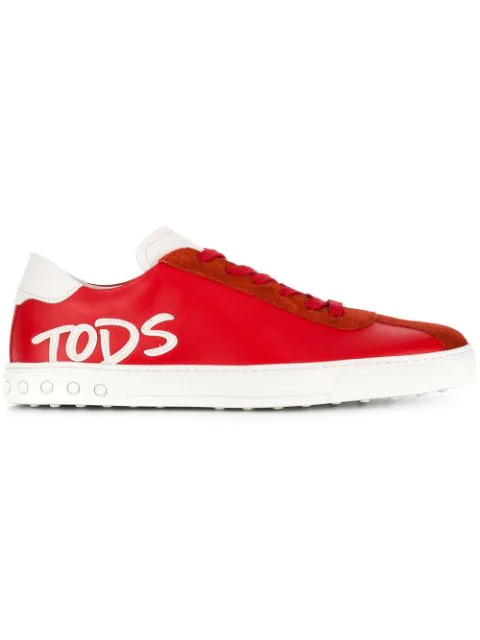 Tod's Logo Patch Red Leather Sneakers In 3ddf