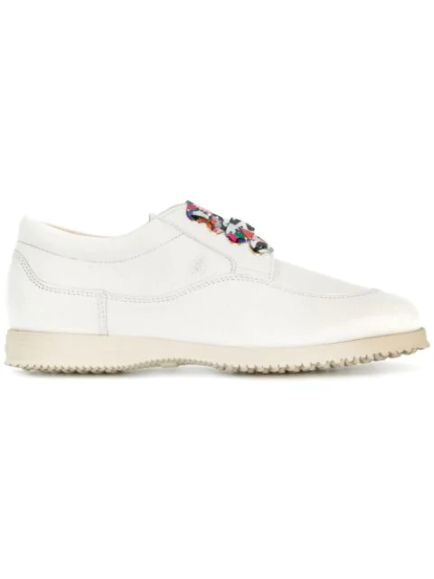 Hogan Traditional Multicolour Laces Shoes In White