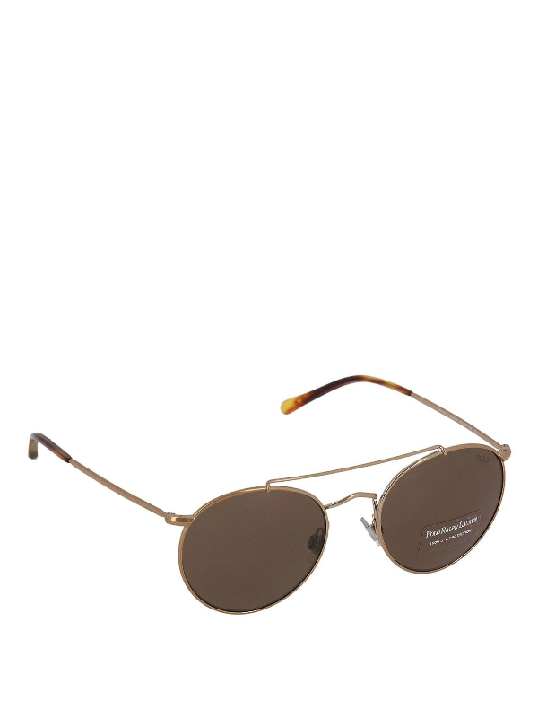 Polo Ralph Lauren Rose Gold Dark Aviator Sunglasses