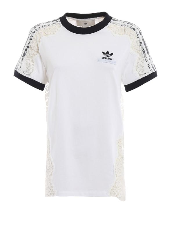 Adidas By Stella Mccartney See-through Lace Detail White T-shirt