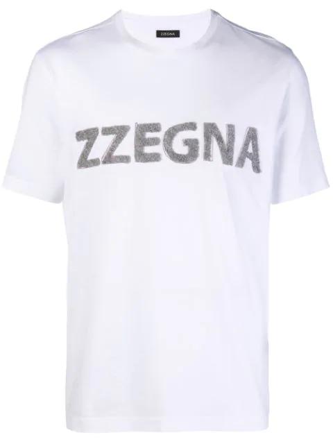 Z Zegna Terry Logo Patch White Cotton Tee