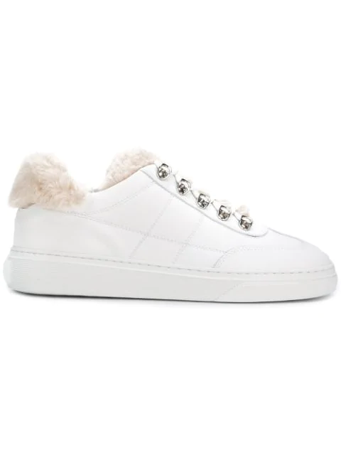 Hogan Sheep Fur Inner Stitched Leather Sneakers In White
