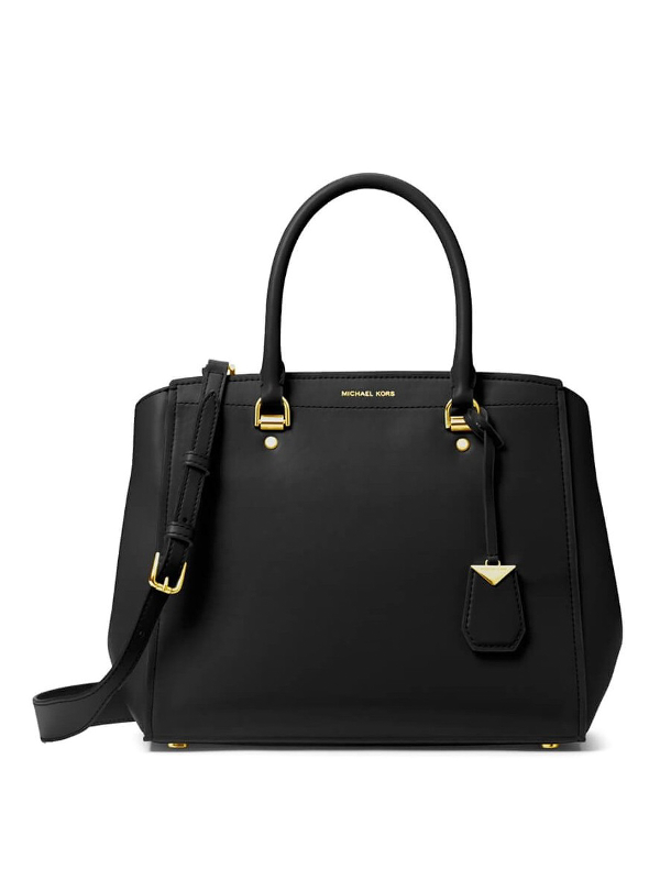 Michael Kors Benning Charm Detailed Smooth Leather Bag In Black
