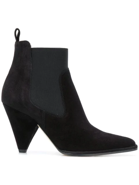 Sergio Rossi Pointy Toe Detailed Suede Ankle Boots In Black
