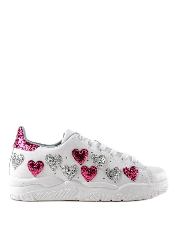Chiara Ferragni Heart Roger White Sneakers