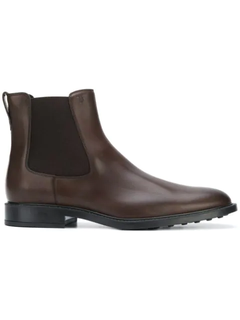 Tod's Almond Toe Brushed Leather Ankle Boots In S800 Brown