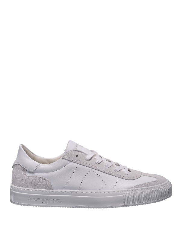 Philippe Model Belleville Leather And Suede Sneakers In White