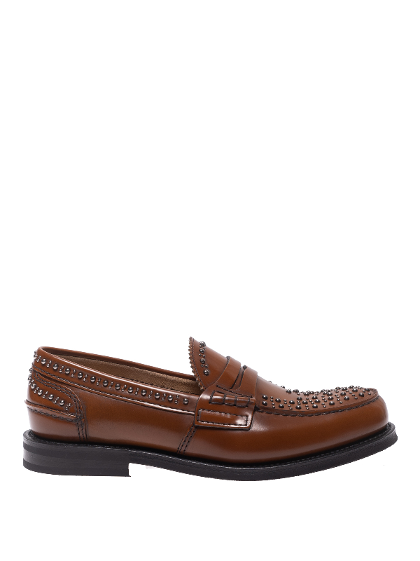 Church's Pembrey Studded Polished Leather Loafers In Brown