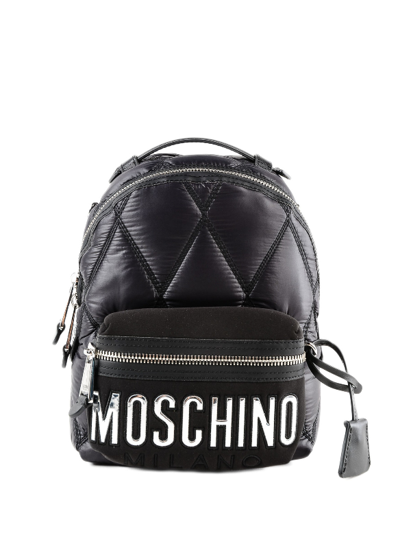 Moschino Silver Logo Patch Detailed Nylon Backpack In Black