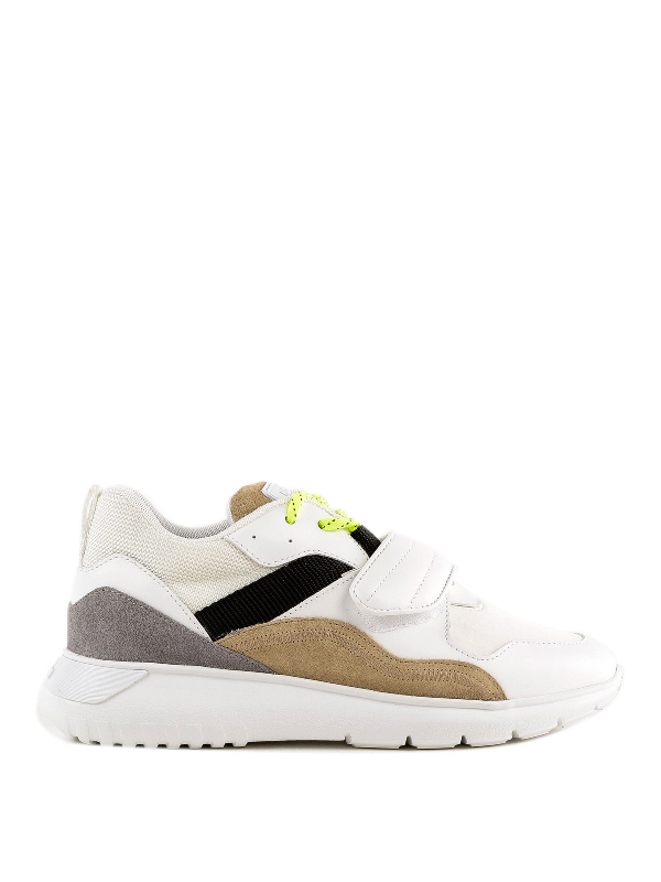 Hogan Galaxy Love Mid Top Leather And Mesh Sneakers In White