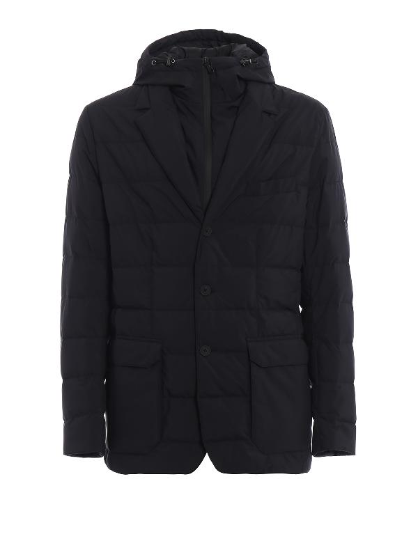Moncler Vernoux Hooded Double-Front Black Blazer