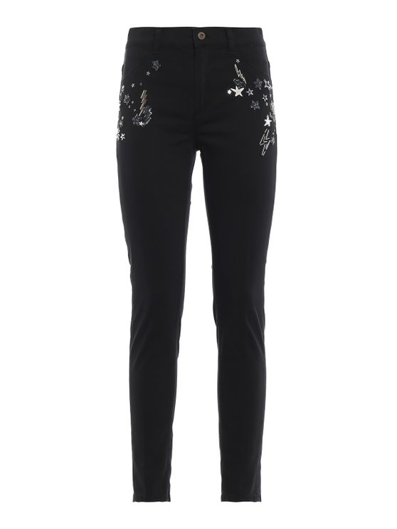 Dondup Appetite Super Skinny Jeans With Applications In Black