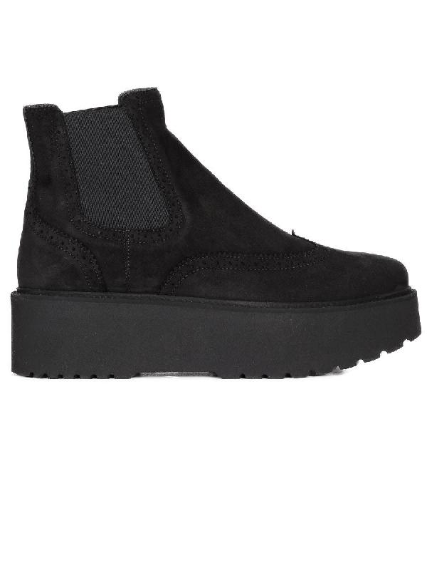 Hogan Suede Urban Platform Chelsea Boots In Black
