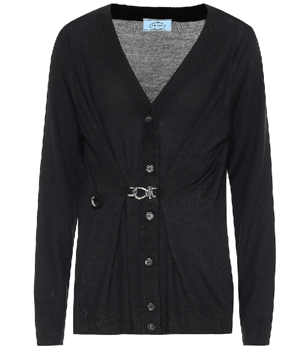 Prada Wool Cardigan With Adjustable Strap In Black