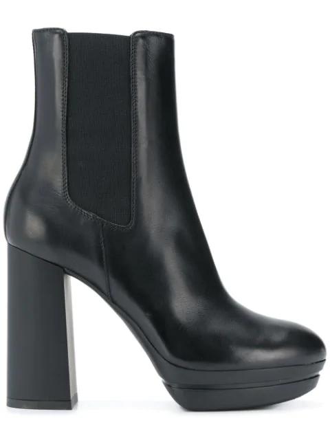 Hogan H391 Leather Platform Ankle Boots In Black