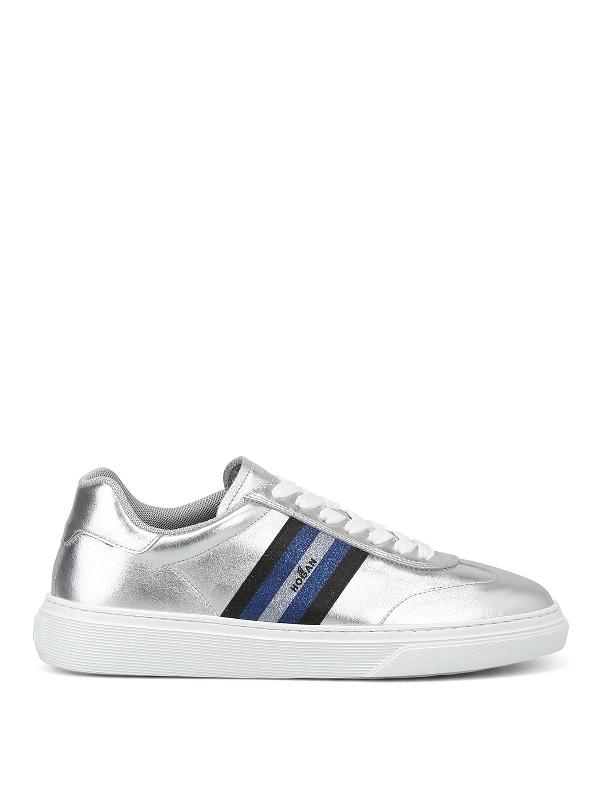 Hogan H365 Glitter Logo Band Silver Sneakers