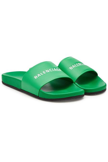 Balenciaga Leather Slides Green