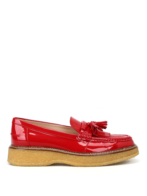 Tod's Rough Rubber Sole Red Loafers With Tassels