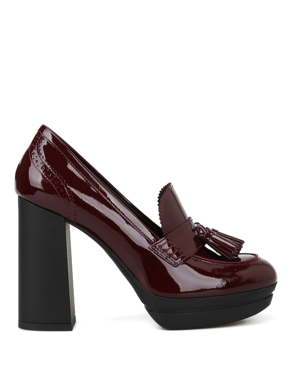 Hogan H391 Patent Leather Heeled Tassel Loafers In Burgundy