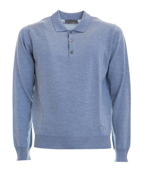 Corneliani Melange Wool Polo Shirt In Blue