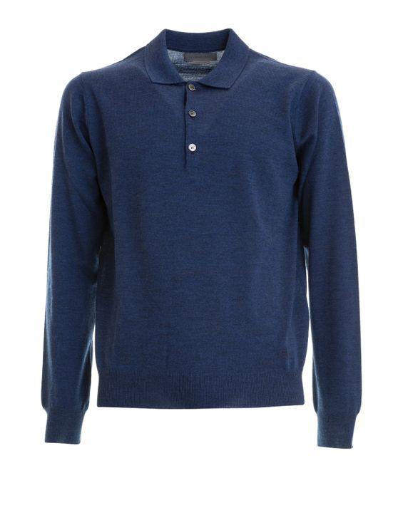 Corneliani Cashmere Wool And Silk Yarn Polo Shirt In Blue
