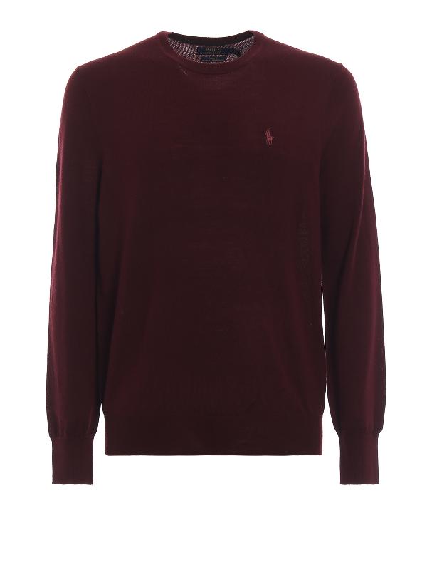 Polo Ralph Lauren Melange Merino Wool Crew Neck Sweater In Burgundy