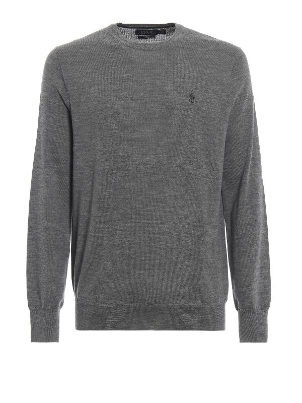 Polo Ralph Lauren Grey Melange Merino Wool Crew Neck Sweater
