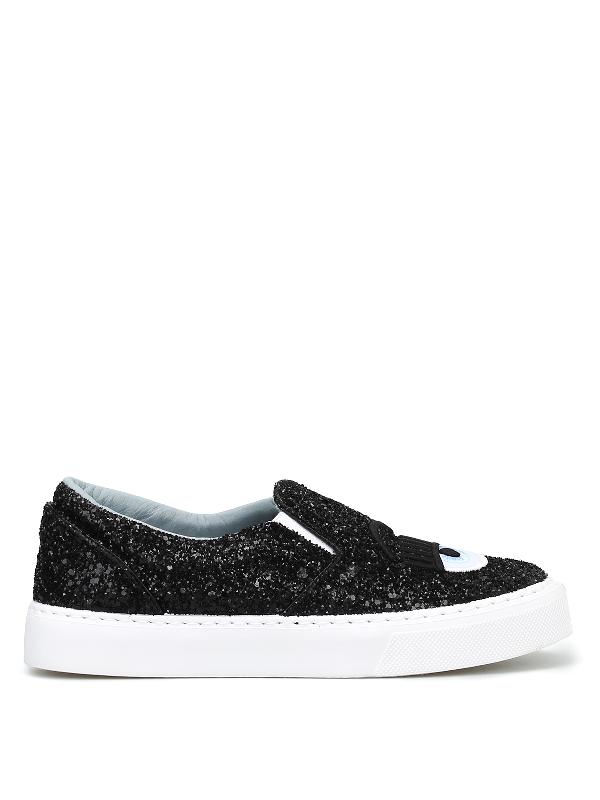 Chiara Ferragni Flirting Black Glitter Slip On Sneakers