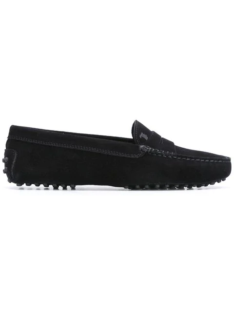 Tod's Gommino Classic Black Suede Loafers In B999