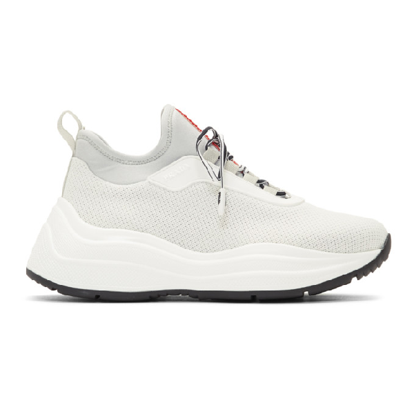 Prada Mesh Sneakers With Chunky Sole In F0n87 White
