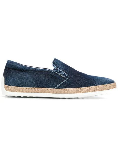Tod's Slip-on-sneakers Im Jeans-look In U808 Blu Denim